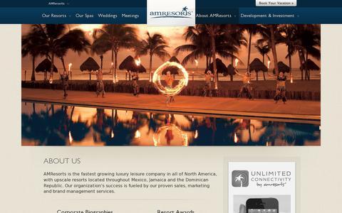 Screenshot of About Page amresorts.com - About  AMResorts - captured July 21, 2014