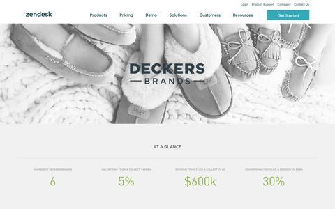 Screenshot of Support Page zendesk.com - Deckers Brands Customer Service Story   Zendesk - captured Feb. 27, 2017