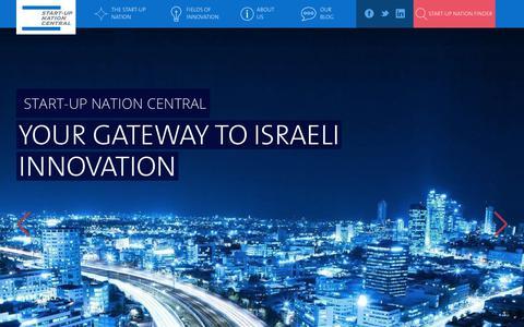 Screenshot of Home Page startupnationcentral.org - Your Gateway to Israeli Innovation   Start-Up Nation Central - captured Sept. 21, 2018