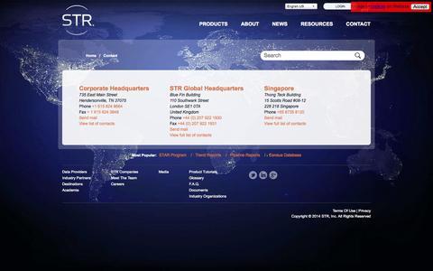 Screenshot of Contact Page str.com - STR - captured Oct. 3, 2014