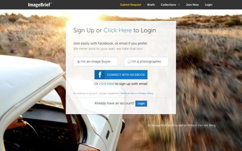 Screenshot of Signup Page imagebrief.com - ImageBrief - captured Sept. 16, 2014