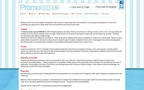 Screenshot of Terms Page promoone.com.au - Promo One - captured Oct. 3, 2014