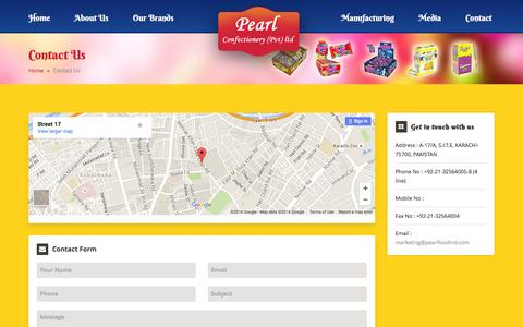 Screenshot of Contact Page pearlfoodind.com - Pearl Confectionery (Pvt) Ltd-contact - captured Jan. 26, 2016