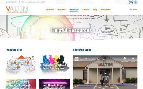 Screenshot of Case Studies Page valtim.com - Resources - Valtim Marketing Solutions - captured Oct. 20, 2018