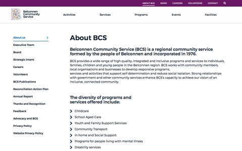 Screenshot of About Page bcsact.com.au - About BCS | Belconnen Community Service - captured Oct. 10, 2017