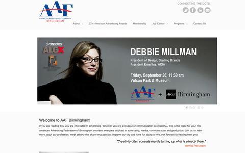 Screenshot of Home Page aafbirmingham.com - American Advertising Federation Birmingham - captured Sept. 30, 2014