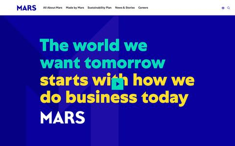 Screenshot of Home Page mars.com - Global Petcare, Food, Confectionery and Edge Brands | Mars, Incorporated - captured March 12, 2019