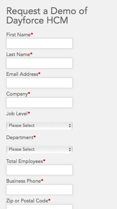 Ceridian Products and Solutions Demo Request form