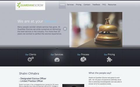 Screenshot of Home Page guardianescrow.net - Guardian Escrow | Guardian Escrow's website - captured Sept. 30, 2014