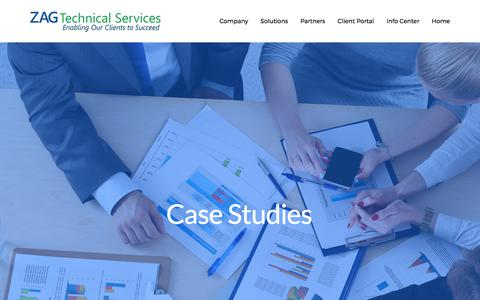 Screenshot of Case Studies Page zagtech.com - Case Studies — ZAG Technical Services, Inc. - captured Oct. 18, 2017