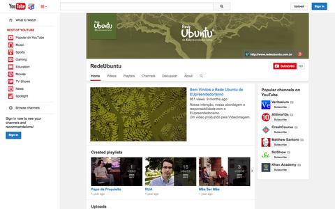 Screenshot of YouTube Page youtube.com - RedeUbuntu  - YouTube - captured Nov. 5, 2014