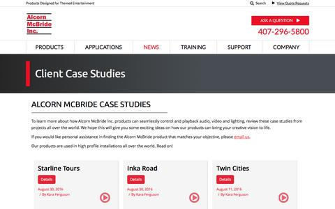 Screenshot of Case Studies Page alcorn.com - Review Show Control Case Studies from Alcorn McBride - captured Nov. 20, 2016