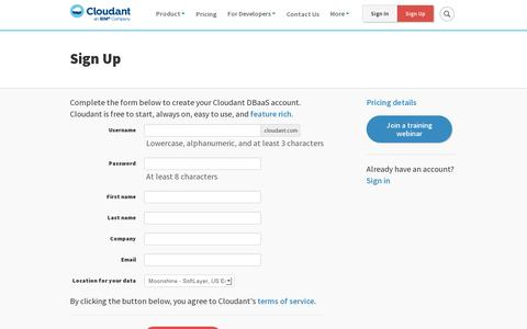 Screenshot of Signup Page cloudant.com - Sign Up | Cloudant - captured July 20, 2014