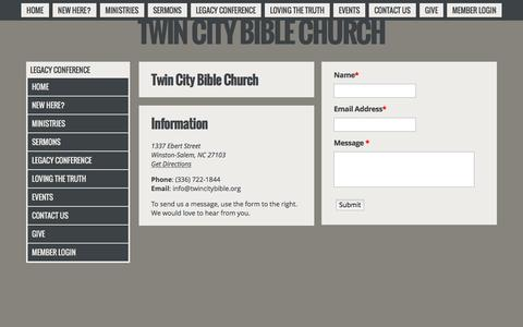 Screenshot of Contact Page twincitybible.org - Twin City Bible Church Contact Community Church - captured Dec. 2, 2016