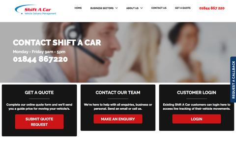 Screenshot of Contact Page shiftacar.com - Contact Us | Shift A Car - Expert Vehicle Delivery Management - captured Sept. 21, 2018
