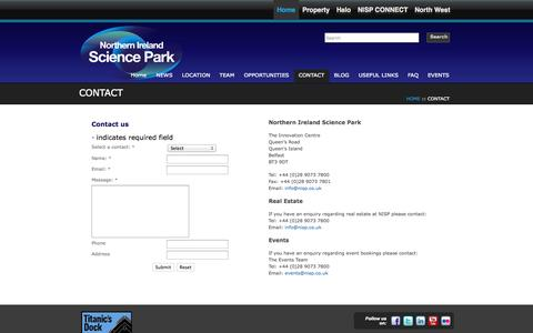 Screenshot of Contact Page nisp.co.uk - CONTACT | Northern Ireland Science Park - captured Oct. 7, 2014