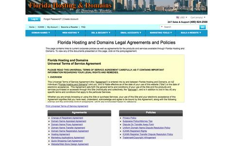 Screenshot of Terms Page hostingfl.com - Florida Hosting and Domains Florida Hosting and Domains Legal Agreements   Our TOS Agreement - captured Oct. 9, 2014