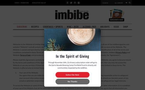 Screenshot of Terms Page imbibemagazine.com - Terms of Use - Imbibe Magazine - captured Nov. 20, 2018