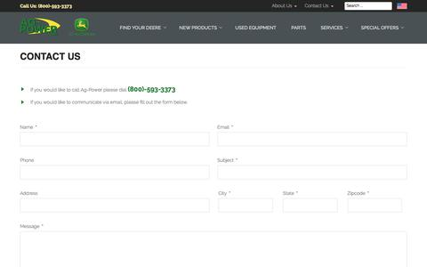 Screenshot of Contact Page ag-power.com - Contact Us - AG-POWER - captured Oct. 7, 2017