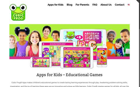Screenshot of Home Page cubicfrog.com - Apps for Kids - Educational Games | Cubic Frog® - captured Sept. 29, 2018