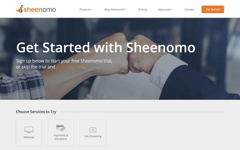 Screenshot of Trial Page sheenomo.com - Sheenomo - Get Started - captured Oct. 24, 2018