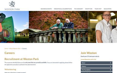 Screenshot of Jobs Page weston-park.com - Recruitment at Weston Park and Volunteering - captured Nov. 15, 2018
