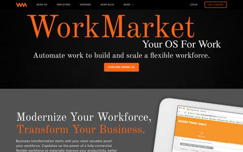 Screenshot of Home Page workmarket.com - WorkMarket: Your OS for Work | WorkMarket - captured June 4, 2017