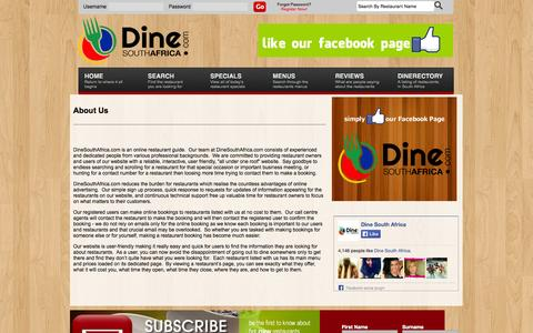 Screenshot of About Page dinesouthafrica.com - DineSouthAfrica.com :: South Africa's Premier Online Restaurant Guide - captured Oct. 5, 2014