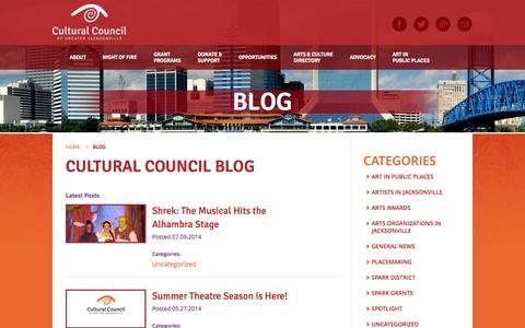 Screenshot of Blog culturalcouncil.org - Blog  |  Cultural Council of Greater Jacksonville - captured Oct. 3, 2014
