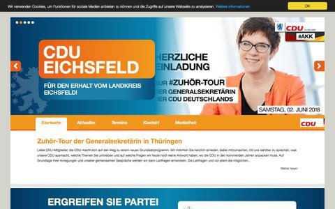 Screenshot of Home Page cdu-eichsfeld.de - CDU Eichsfeld FÜR DEN ERHALT VOM LANDKREIS EICHSFELD! - Startseite - captured May 30, 2018