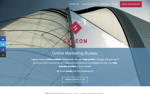 Screenshot of Home Page sageon.nl - Online Marketing Bureau Utrecht | Sageon - captured Sept. 16, 2015