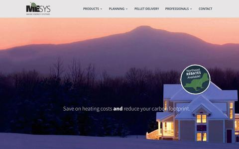 Screenshot of Home Page maineenergysystems.com - Maine Energy Systems - Wood Pellet Boilers and Furnaces - Reduce Your Carbon Footprint - captured July 22, 2016
