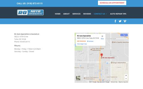 Screenshot of Maps & Directions Page rcautospecialists.com - Location - RC Auto Specialists - captured Nov. 14, 2017