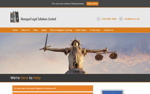 Screenshot of FAQ Page managedlegalsolutions.co.uk - We're here to help – Managed Legal Solutions - captured Oct. 2, 2018