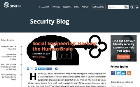 Screenshot of Blog spohnsolutions.com - Security Blog - Spohn Solutions - captured Oct. 23, 2017
