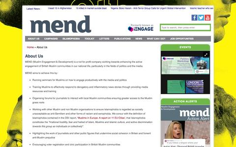 Screenshot of About Page iengage.uk.net - About Us - MEND - captured Oct. 1, 2014