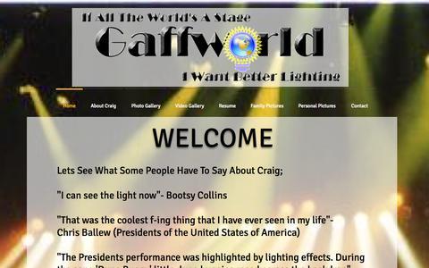 Screenshot of Home Page gaffworld.com - Craig Gaff concert lighting designer, director, programmer, and tech. - captured Oct. 2, 2014