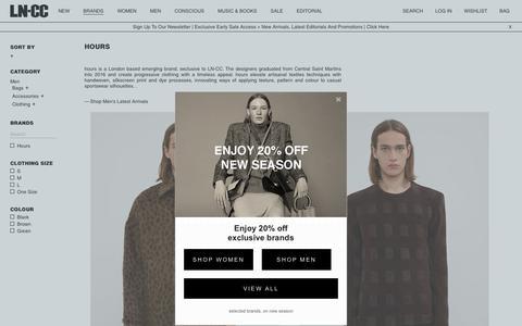 Screenshot of Hours Page ln-cc.com - Hours for Men | Shop Now on LN-CC - captured Nov. 4, 2018