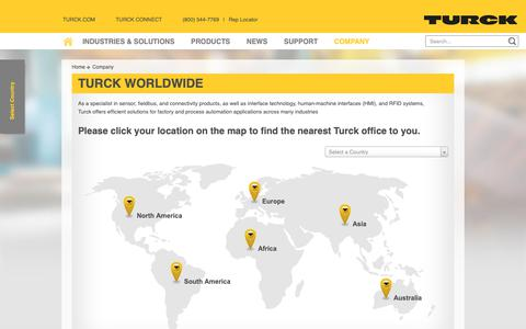 Screenshot of Locations Page turck.us - Turck Worldwide - Turck USA - captured Oct. 20, 2018