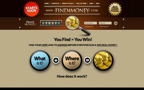 Screenshot of Home Page find4money.com - Find4Money::Homepage - captured Sept. 30, 2014