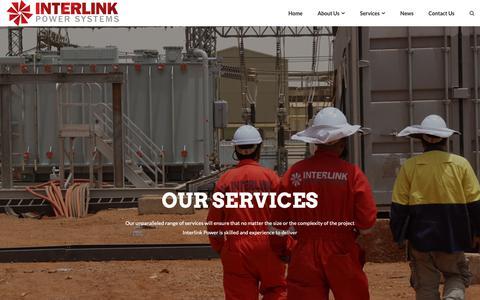 Screenshot of Services Page interlinkps.com.au - Services – Interlink Power - captured Nov. 14, 2018