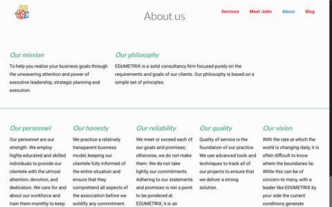 Screenshot of About Page edumetrix.com - About - Edumetrix - captured May 12, 2017
