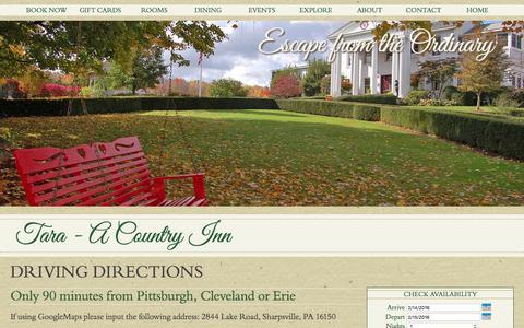 Screenshot of Maps & Directions Page tara-inn.com - Tara-A Country Inn: Romantic Getaways in Pennsylvania, Select Registry, Gourmet, Casual Dining, Weddings - captured Feb. 13, 2016
