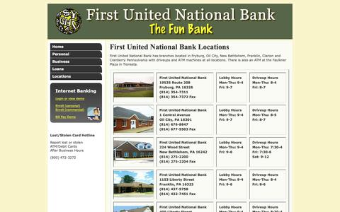 Screenshot of Contact Page Locations Page fun-bank.com - First United National Bank Locations & Contact Information - captured Oct. 25, 2018