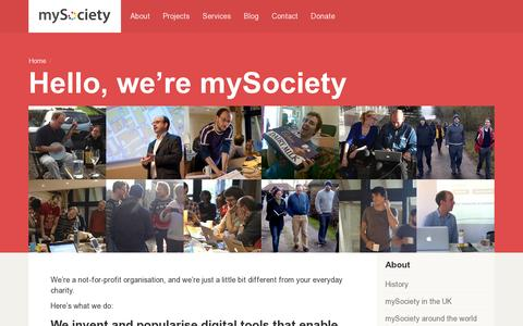 Screenshot of About Page mysociety.org - About / mySociety - captured July 20, 2014