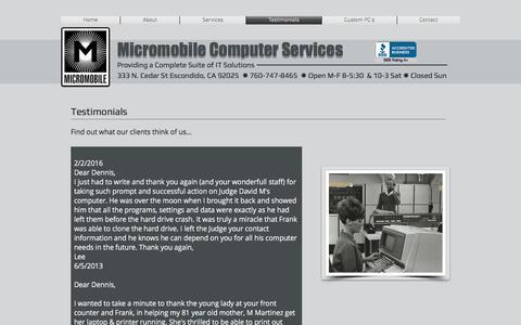 Screenshot of Testimonials Page micro-mobile.com - Micromobile Computer Repair - Escondido's BEST   Testimonials - captured Nov. 28, 2016