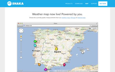 Screenshot of Maps & Directions Page shakaon.net - Crowdsourced Weather Map — Shaka — Weather Station Reinvented - captured Sept. 17, 2014