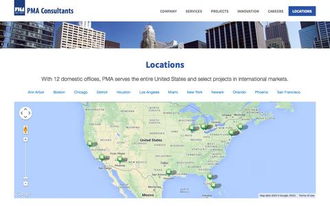 Screenshot of Contact Page Locations Page pmaconsultants.com - PMA Consultants Locations - captured Oct. 22, 2014