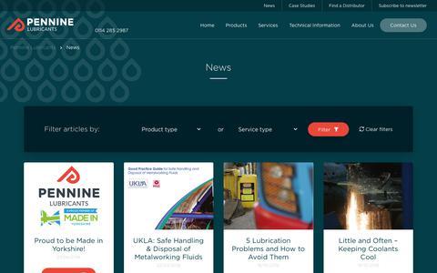 Screenshot of Press Page penninelubricants.co.uk - Latest News | Pennine Lubricants - captured Sept. 27, 2018