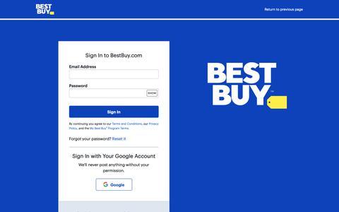 Screenshot of Login Page bestbuy.com - Sign In to BestBuy.com - captured April 25, 2019